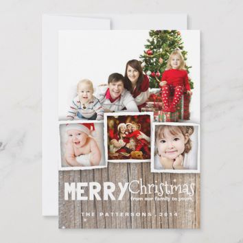 country rustic wood merry christmas photo card - Rustic Christmas Cards