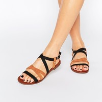Oasis Contrast Strap Flat Sandals