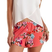 Coral Flowy Floral Print High-Waisted Shorts by Charlotte Russe