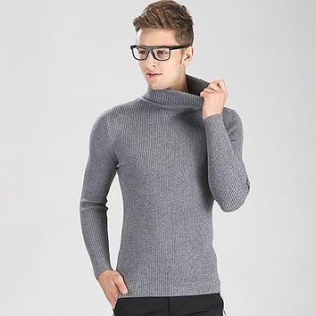 New Autumn Winter Youth Fashion Turtleneck Sweater Men Knitted Sweater High Elastic Mens Sweaters And Pullovers
