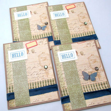 Set of Four Cards - Blank Card Set - Set of 4 - Kraft Cards - Vintage Style - Hello Card - Note Card Set - 4 Blank Cards - Hand Stamped