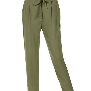 LE3NO Womens Relaxed High Waisted Pleated Peg Trouser Pants with Tie Belt (CLEARANCE)