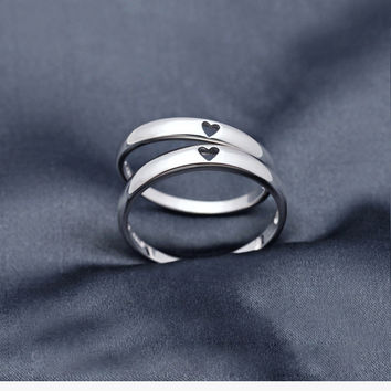 925 Sterling Silver heart lovers ring,elegant couple ring