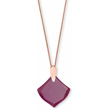 Kendra Scott: Aislinn Rose Gold Long Pendant Necklace In Maroon Jade