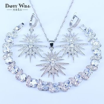 New Arrival Star Squre White Zircon 925 Stamp Silver Color Jewelry Sets For Women Bracelets Pendant Drop Earrings Necklace Sets