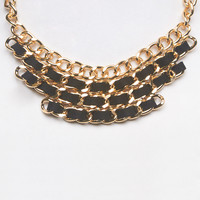Tiered Chunky Chain Bib Necklace | Wet Seal