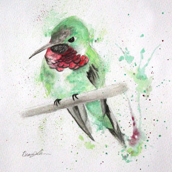 Hummingbird Original Watercolor Painting, Green and Red Hummingbird on a Tree Branch, Bird Wall Art