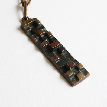 Vintage Copper Modernist Necklace - Finland