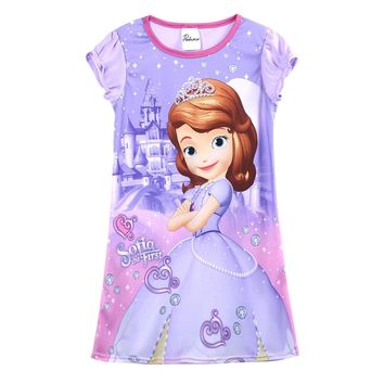 Girls Dress Kids Baby Girls Purple Sofia Princess Home Summer Casual Dress Nightdress 4-14Y