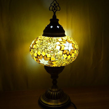 Unique handmade Turkish authentic colourful glass mosaic table lamp, bedside lamp, decorative night light.