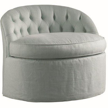 Britt Tufted Swivel Chair, Pale Seafoam, Accent & Occasional Chairs
