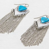 AEO Women's Turquoise Fringe Earrings (Silver)