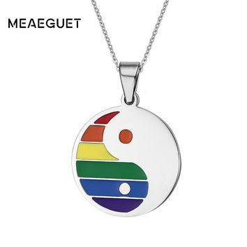 Meaeguet LGBT Gay Pride Fashion Men's Tai Chi Bagua Rainbow Pendant Necklaces Jewelry Stainless Steel Round Tag Pendants