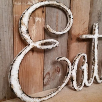 Rustic EAT sign shabby chic white wall hanging home decor photo prop cottage teal farmhouse primitive gift distressed aged style