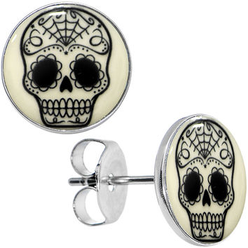Sugar Skull Glow in the Dark Stud Earrings