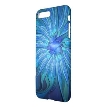 Blue Flower Fantasy Pattern, Abstract Fractal Art iPhone 7 Plus Case