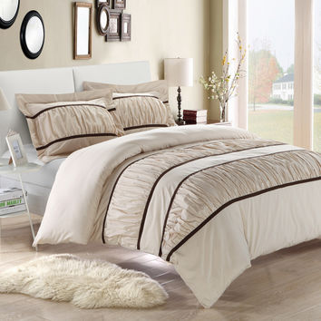 Chic Home Besily Beige 3-piece Bedding Ruffled Duvet Cover Set King size