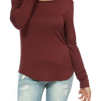 Teeze Me | Long Sleeve Scoop Neck Basic Top | Marsala