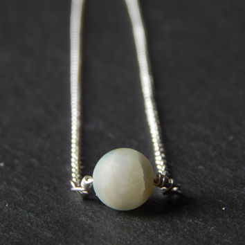 Spring Fresh Minimalist Single Mint Bead Necklace