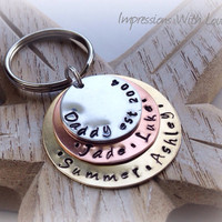 Father's Day Gift - Dad / Daddy est - Hand Stamped Keyring - Keychain - personalised - stacked disc - Mixed Metal - Gift for Him