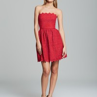 Jill Jill Stuart Dress - Strapless Lace Flare Skirt