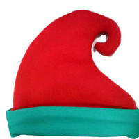 Christmas Elf Hat for Baby, Toddler, and Child, Red and Green Winter Fleece Elf Hat, Baby Elf Hat, Adult Elf Hat