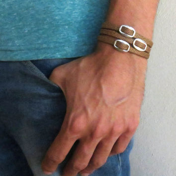 Men's Bracelet - Brown Fabric Bracelet With Silver Plated Elements - Men's Jewelry - Geometric Jewelry - Gift for Him