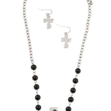 Womens fashion jewelry Beaded cross accent pendant necklace set