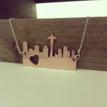 Copper Hand Cut City Skyline Necklace with Sterling Silver Cable Chain, Statement Necklace, Fashion Jewelry by Miss Ashley Jewelry