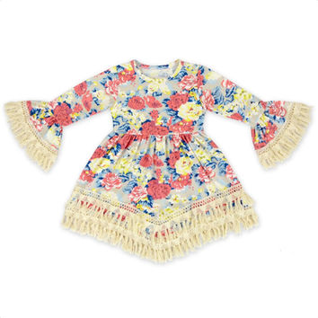 Baby Girls Floral Dress Tassels Vintage Bell Sleeve Cotton Party Dresses Children Clothing
