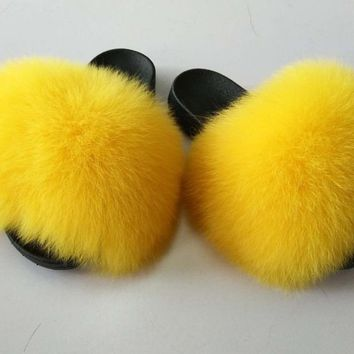 Sunshine Yellow Fox Fur Slides Furry Sandals