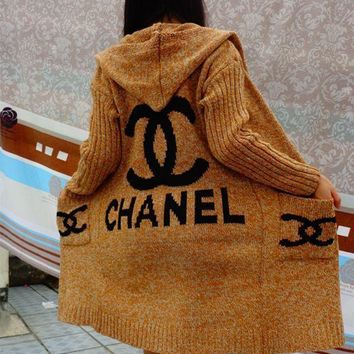 DCCKNQ2 Chanel Hooded Sweater Knit Cardigan Jacket Coat