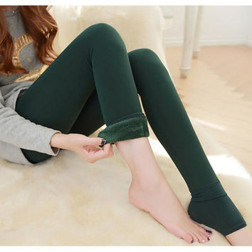 Nov18 Amazing Lady Winter Warm Legging Thickened Winter Super Elastic Fleece Women Leggings Solid Color
