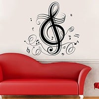 Music Note Wall Decal Treble Clef Floral Patterns Vinyl Sticker Decals Musical Notes Waves Music Wall Decal Recording Studio Decor Art C524