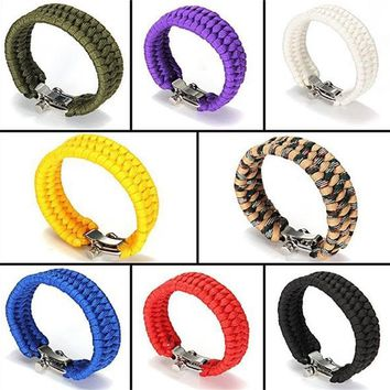 Men Bracelets Outdoor Camping Military 7-Strands Paracord Survival Bracelet Handmade Thread Wrist band Shackle Buckle