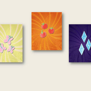 set of three.. my little pony friendship is magic.. printable instant downloads.. fluttershy, rarity, applejack