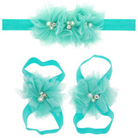 Cute Toddle Infant Baby Girls Lace Hair Band Matching Barefoot Sandals