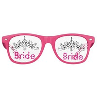 Hot pink, bride with a crown, retro sunglasses