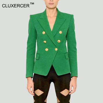 DCCKHY9 Blazer jacket suits Women Slim Blaser Double Breasted Notched Design Green Blazer Feminino Jacket Female Suit Women Work Wear