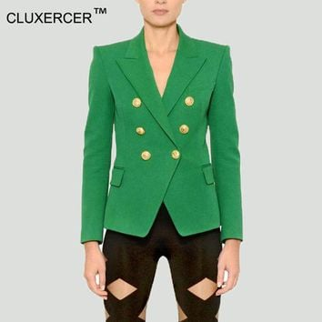 LMFUS4 Blazer jacket suits Women Slim Blaser Double Breasted Notched Design Green Blazer Feminino Jacket Female Suit Women Work Wear