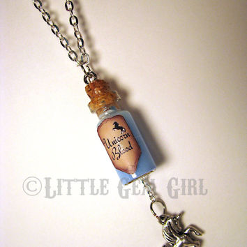 Unicorn Blood  Glass Bottle Cork Necklace  Potion by LittleGemGirl