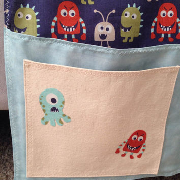 Boys bedroom bed caddy, boys bed caddy, Monsters bed caddy, bedside bed caddy