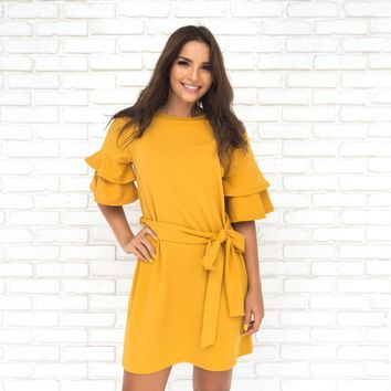 Rosita Bell Sleeve Shift Dress In Mustard
