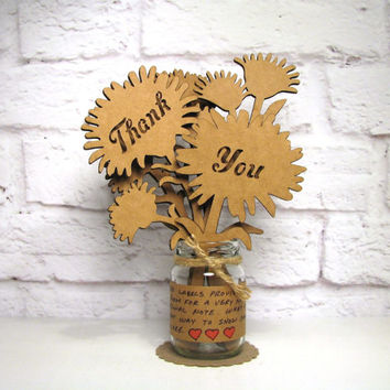 THANK YOU - Corrugated Cardboard Flowers Bouquet In Mini Mason Jar Great Gift Idea