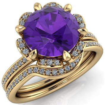 Daisy Round Amethyst Floral Diamond Basket Design and Diamond Shoulders Ring