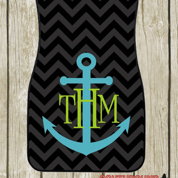 Anchor Teal Lime Initials Personalized Car Mats