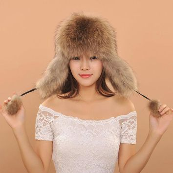 ESBU3C 2016 Women Warm Winter Fox Fur Earflaps Leather Hats For Female Fur Balls Ladies Cap