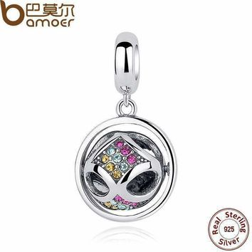 BAMOER New Fashion 925 Sterling Silver Crystals Round Pendant Charms fit Bracelets Friendship Gift SCC025