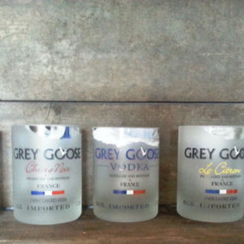 Complete Set of Grey Goose Rocks Glasses - Made from the Bottles