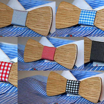 FREE SHIPPING till 10th of December! Wooden bow tie with checkered fabric. Handicraft unique men accessory.